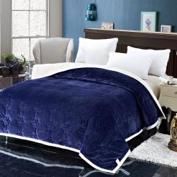 法兰家纺法兰绒加厚毛毯繁花被毯毛毯繁花被毯毛毯 蓝色
