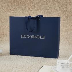 正大包装 藏青色艺术纸包装纸盒礼盒手提袋 43x34x11