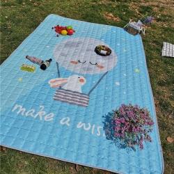 澳泽家纺 2018新款野餐垫地垫爬爬垫防水垫室外图 望月小兔