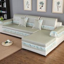 点尚沙发垫 冰藤绿色花边款