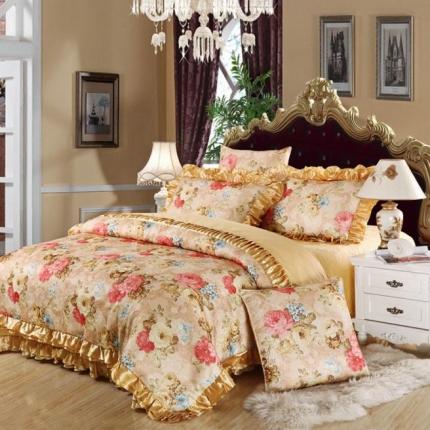 小时代家纺欧式婚庆件床盖四件套六件套全棉斜纹床上套件花语欣悦