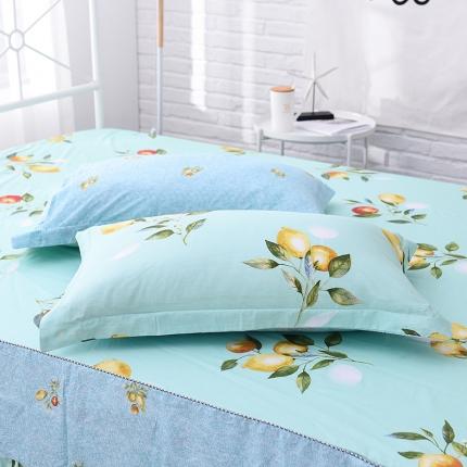 棉立方家纺 全棉13070系列单品枕套(一对)柠檬派对
