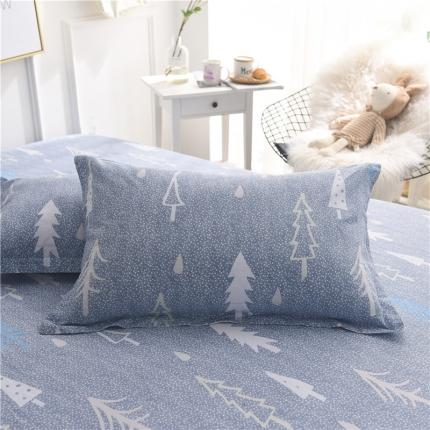 棉立方家纺 新款全棉单枕套 浪漫树下蓝