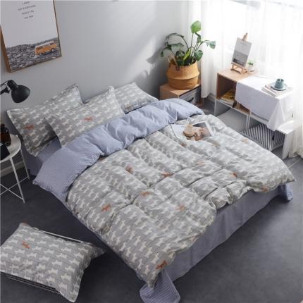 棉立方家纺 新款系列小清新全棉床单四件套弗朗士