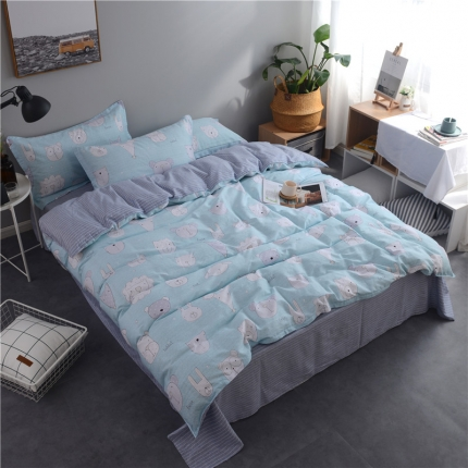 棉立方家纺 新款系列小清新全棉床单四件套卡曼蓝