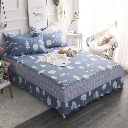 棉立方家纺 新款全棉单床裙拉菲庄园