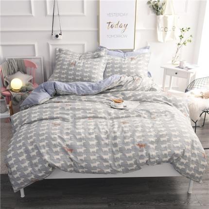 棉立方家纺 新款系列小清新全棉床笠四件套 弗朗士