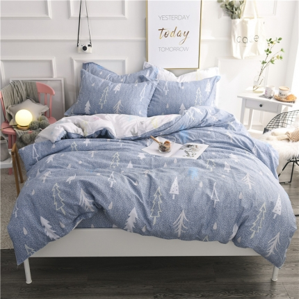 棉立方家纺 新款系列小清新全棉床笠四件套 浪漫树下蓝