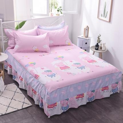 棉立方家纺 新款全棉单床裙 小猪粉