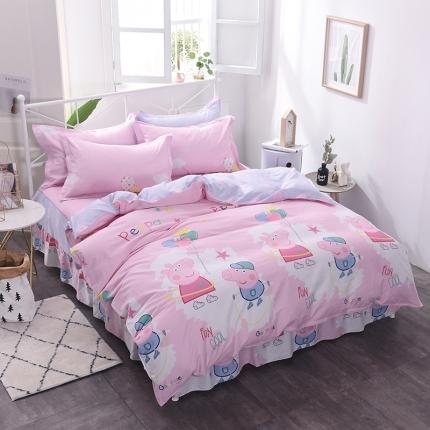棉立方家纺 新款系列小清新全棉床裙四件套 小猪粉