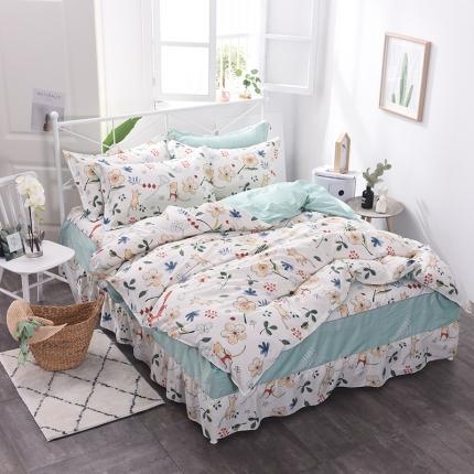 棉立方家纺 新款系列小清新全棉床裙四件套 艾夏