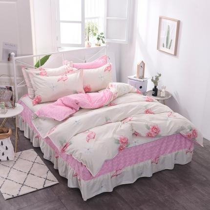 棉立方家纺 新款系列小清新全棉床裙四件套 火烈鸟-米白