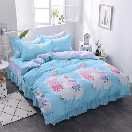 棉立方家纺 新款系列小清新全棉床裙四件套 小猪兰