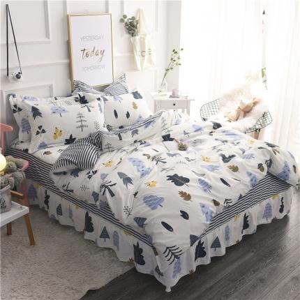 棉立方家纺 新款系列小清新全棉床裙四件套 月光森林