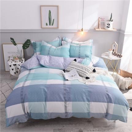 棉立方家纺 新款系列小清新全棉床笠四件套 拉斐尔蓝