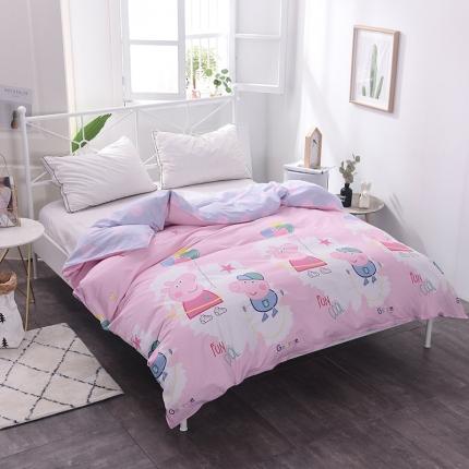 棉立方家纺 新款全棉13070单品单被套 小猪粉
