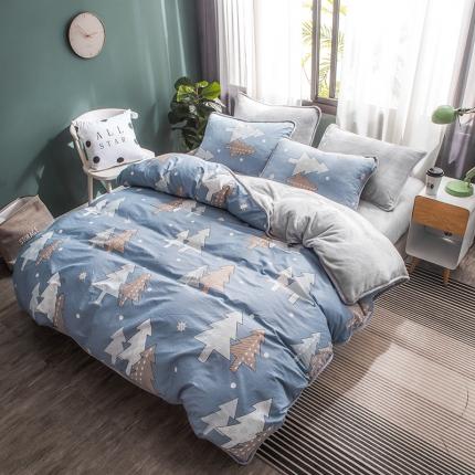 宜代光年 2018棉加法莱绒圆网床单款四件套 月光森林