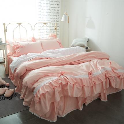 (总)锦色家纺 全棉套件床裙款灰姑娘系列