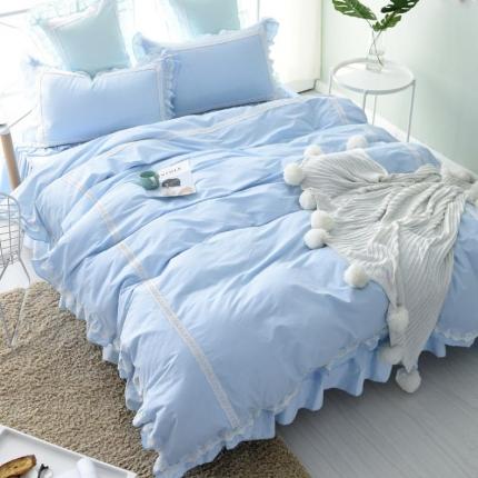 锦色家纺 全棉套件床裙款遇见系列遇见蓝色