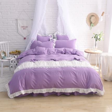 锦色家纺 全棉套件床裙款甜美系列甜美紫色