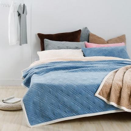 炫拼家纺  纯色法莱绒毛毯法兰绒复合盖毯水蓝