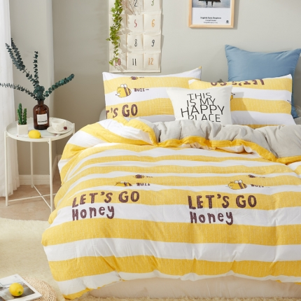 珺柔家纺 活性印染水洗棉四件套床单款永恒的爱-黄