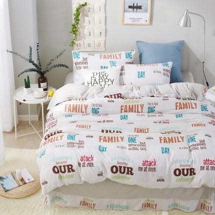 珺柔家纺 活性印染水洗棉四件套床单款字母王国