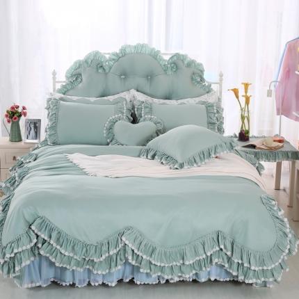 玉儿纺 韩版田园公主风床裙款四件套六月雪 豆绿