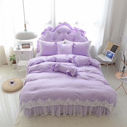 玉儿纺 韩版田园公主风床裙款欢乐颂(四色)四件套 紫色