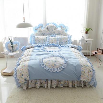 玉儿纺  韩版全棉田园公主风床裙款纯爱四件套 纯爱蓝