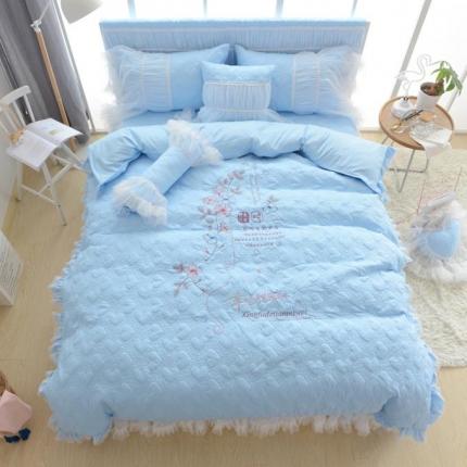 玉儿纺  韩版加厚磨毛绣花-甜蜜味四件套 甜蜜味蓝