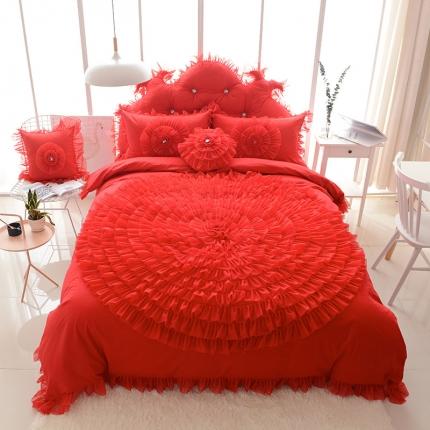 玉儿纺 韩版全棉田园公主风床裙款四件套一生一世(六色) 红色
