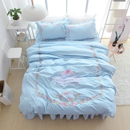玉儿纺 韩版全棉田园公主风床裙款四件套田园(五色)天蓝