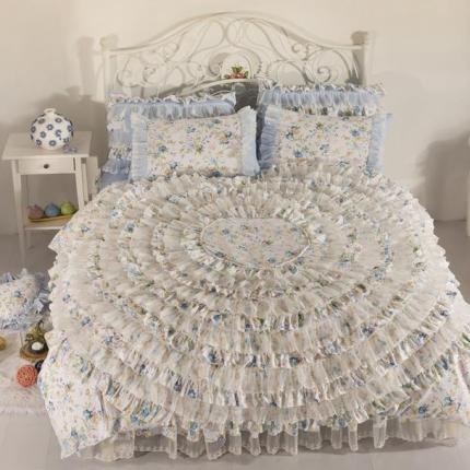 玉儿纺 韩版全棉田园公主风床裙款四件套浪漫花都蓝色