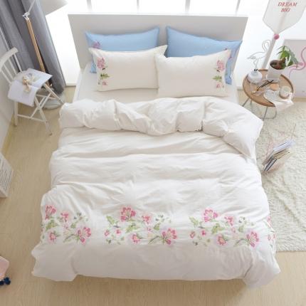 (总)玉儿纺韩版全棉田园公主风床单款四件套十字绣花花香四色