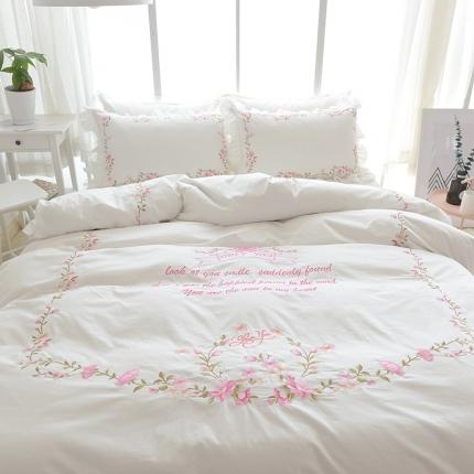 (总)玉儿纺 韩版全棉田园公主风床裙款四件套田园(五色)