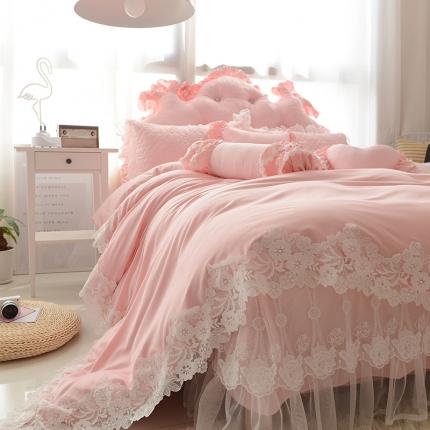 (总)玉儿纺 韩版田园公主风床裙款欢乐颂(四色)四件套