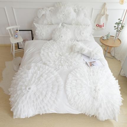 玉儿纺 水晶绒床裙款 三生三世 白色