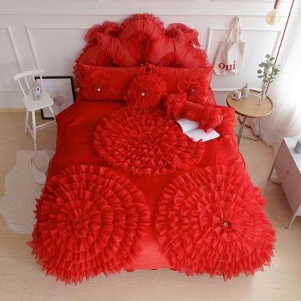 玉儿纺 水晶绒床裙款 三生三世 红色