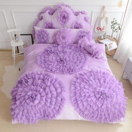 玉儿纺 水晶绒床裙款 三生三世  紫色