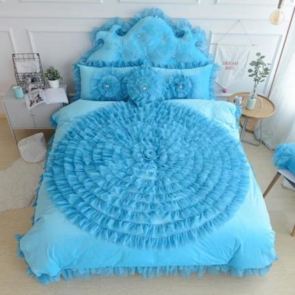 玉儿纺 水晶绒床裙款 一生一世 宝蓝色