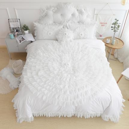 玉儿纺 水晶绒床裙款 一生一世  白色