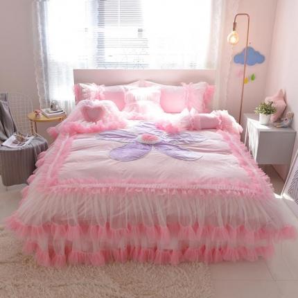 (总)玉儿纺 韩版水晶绒绒款四件套床裙款-告白气球