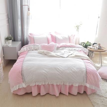 (总)玉儿纺 韩版水晶绒绒款四件套床裙款-星晴