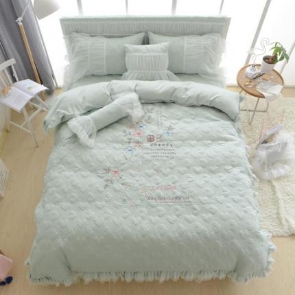 (总)玉儿纺 韩版加厚夹棉款绣花四件套床裙款