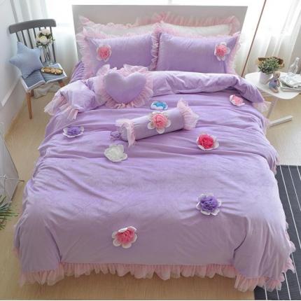 玉儿纺 韩版冬季保暖绒款四件套床裙款-淑女屋-紫
