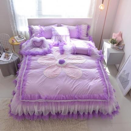 玉儿纺 韩版水晶绒绒款四件套床裙款-告白气球-紫