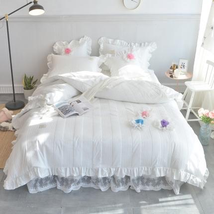 玉儿纺 2018全棉绗缝系列四件套床裙款-花仙子 白色