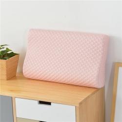 古德家居慢回弹枕芯记忆棉枕头护颈枕颈椎保健枕头针织款粉色