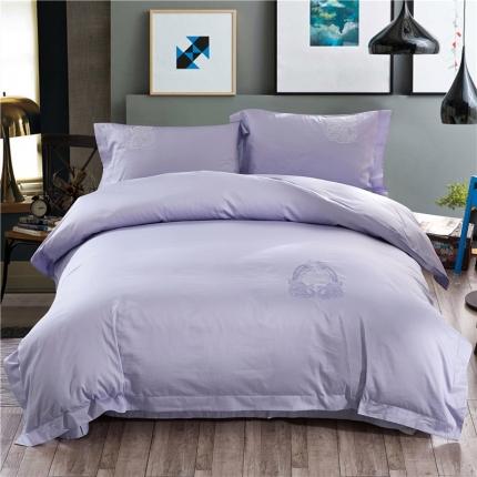 摩妮卡   60s长绒棉刺绣四件套  华尔曼舞曲浅紫